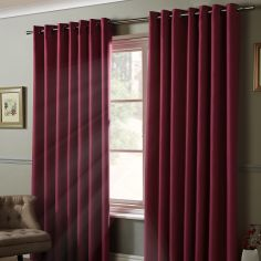 Thermal 100% Blackout Eyelet Curtains - Raspberry Pink