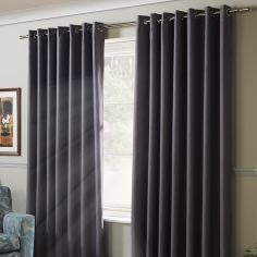 Thermal 100% Blackout Eyelet Curtains - Silver