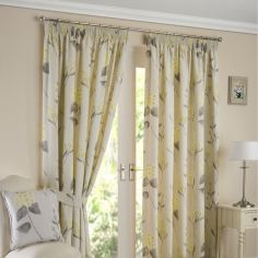 Firenze Floral Fully Lined Tape Top Curtains - Ochre Yellow