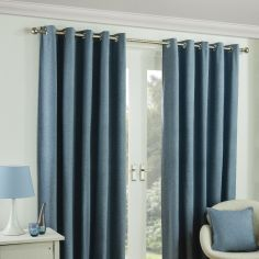 Twilight Fully Lined Blackout Eyelet Ready Made Curtains - Blue