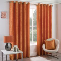 Crushed Taffeta Faux Silk Fully Lined Eyelet Curtains - Orange