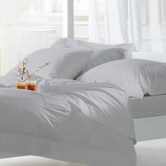Hotel Quality Luxury 400TC Cotton Sateen Duvet Cover Set - Silver Grey