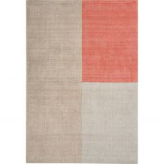 Blox Hand Woven Check Rug - Coral Pink