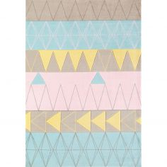 Boca Machine Woven and Printed Geometric Rug - Pink Multi 01