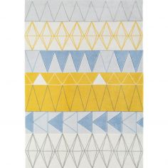 Boca Machine Woven and Printed Geometric Rug - Blue Multi 02