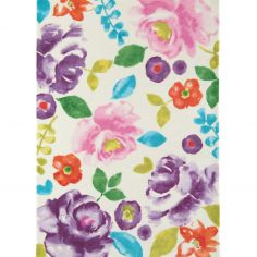 Boca Machine Woven and Printed Floral Rug - Pink Purple Multi 04