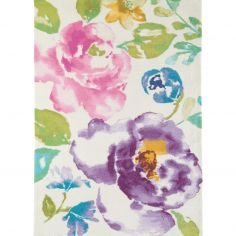 Boca Machine Woven and Printed Floral Rug - Pink Purple Multi 05