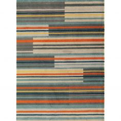 Boca Machine Woven and Printed Stripe Rug - Orange Multi 07