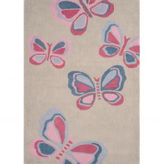 Candy Hand Tufted Kids Butterflies Rug - Pink Grey 0009