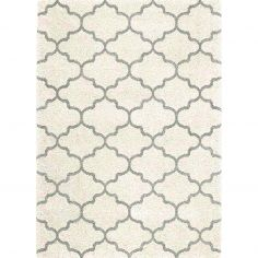 Logan Machine Woven Geometric Rug - White Grey 10