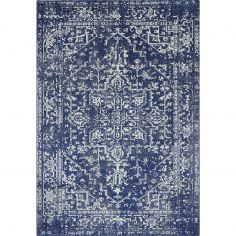 Nova Rug Machine Woven Vintage Rug - Navy Blue 11
