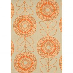 Onix Hand Woven and Printed Floral Rug - Orange 05
