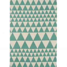 Onix Hand Woven and Printed Geometric Rug - Teal Blue 09