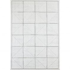 Patio Machine Woven Geometric Rug - Ivory Cream 06