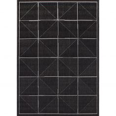 Patio Machine Woven Geometric Rug - Charcoal Grey 07
