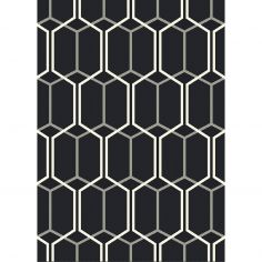 Patio Machine Woven Geometric Rug - Charcoal Grey White 09
