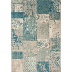 Revive Machine Made Check Rug - Blue Natural 07