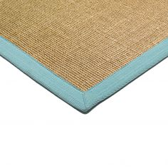 Sisal Machine Woven Plain Runner - Aqua Blue
