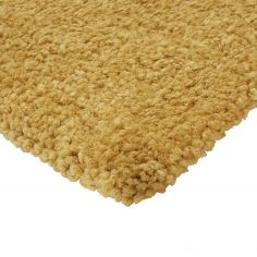 Spiral Shaggy Table Tufted Plain Rug - Mustard Yellow