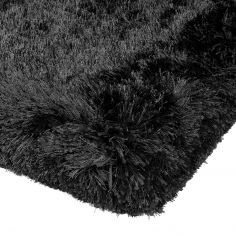 Plush Hand Woven Plain Rug - Black