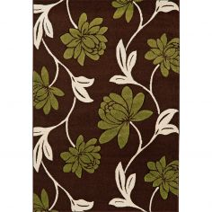 Vogue Machine Woven Floral Rug - Green Brown Cream 11