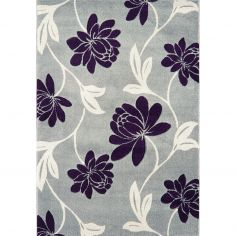 Vogue Machine Woven Floral Rug - Blue White 12