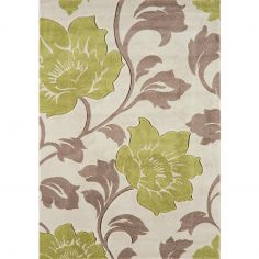 Vogue Machine Woven Floral Rug - Green Natural 30