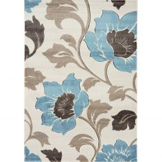 Vogue Machine Woven Floral Rug - Blue Brown Multi 32