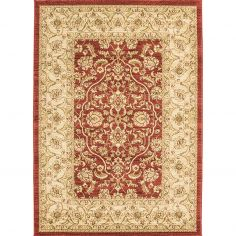 Windsor Machine Woven Floral Geometric Rug - Red Gold Multi 02