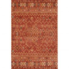 Yale Gabbeh Style Rug Machine Woven Geometric Rug - Russet Red