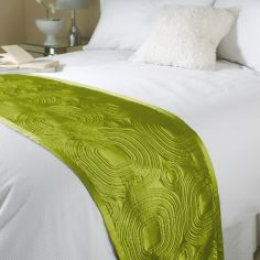Embossed Satin Bed Runner - Green