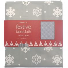 Festive Christmas PVC Tablecloth - Snowflake Grey