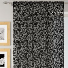 Willow Floral Lace Voile Curtain Panel - Black