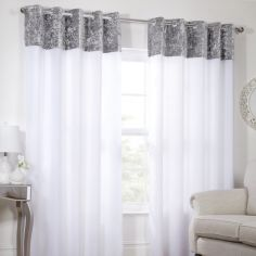Kensington Crushed Velvet Eyelet Lined Voile Curtains - White Silver