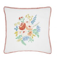 Catherine Lansfield Pom Pom Floral Cushion Cover - Coral Pink