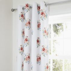 Catherine Lansfield Pom Pom Floral Eyelet Curtains - Coral Pink