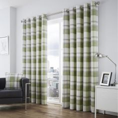 Balmoral Check Fully Lined Eyelet Curtains - Green