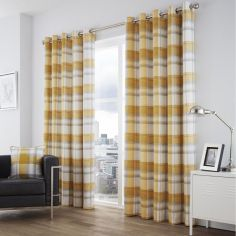Birkdale Check Fully Lined Eyelet Curtains - Ochre Yellow