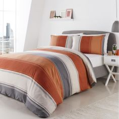 Betley Stripe Duvet Cover Set - Spice Orange