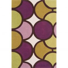 Harlequin Hand Tufted Geometric Rug - Bubble Green Purple 10-006