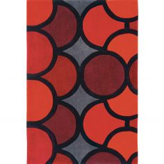 Harlequin Hand Tufted Geometric Rug - Red Grey Multi 007