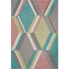 Harlequin Hand Tufted Geometric Rug - Teal Grey Multi 16-901