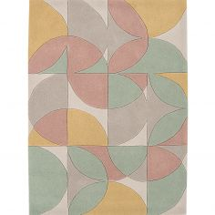Harlequin Hand Tufted Geometric Rug - Grey Pink Blue Multi 16-902