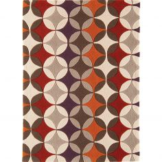 Harlequin Hand Tufted Geometric Rug - Red Grey Multi 14-1A