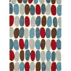 Matrix Hand Tufted Spots Rug - Red Teal Multi 33