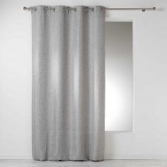 Select Chambray Plain Linen Look Single Curtain Panel with Eyelets - Silver Grey
