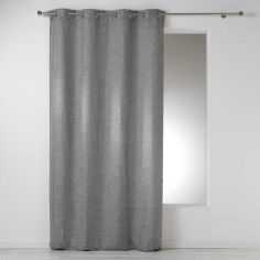Select Chambray Plain Linen Look Single Curtain Panel with Eyelets - Grey