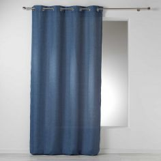 Select Chambray Plain Linen Look Single Curtain Panel with Eyelets - Blue