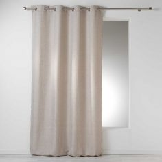 Select Chambray Plain Linen Look Single Curtain Panel with Eyelets - Beige