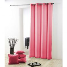 Essentiel Plain Single Curtain Panel with Plastic Eyelets - Coral Pink